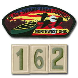Black Swamp Area Council patch with     red cloth 162 numbers below